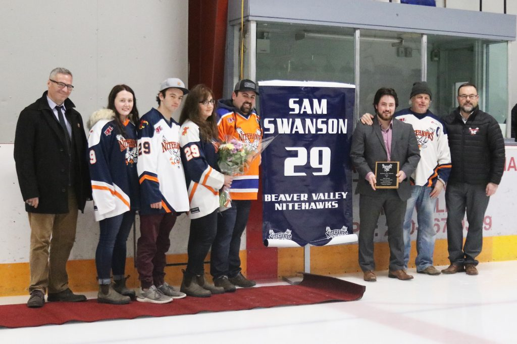 Sam Swanson honoured by B.V. Nitehawks, no. 29 retired